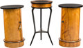 Furniture : Continental, A Pair of Biedermeier Maple and Ebonized Wood Cabinets with InlaidTripod Table, 19th century. 28-1/2 inches high x 17 inche...(Total: 3 Items)
