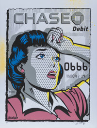 Denial (20th century) Chase, with credit card, 2016 Screenprint in colors with aerosol embellishment