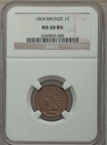 Indian Cents, 1864 1C Bronze No L MS60 Brown NGC. NGC Census: (4/413). PCGS Population: (4/438). CDN: $90 Whsle. Bid for problem-free NGC...