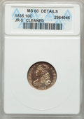 Bust Dimes, 1835 10C JR-5, R.1, -- Cleaned -- ANACS. MS60 Details. NGC Census:(0/4). PCGS Population: (0/1). MS60. Mintage 1,410,000. ...