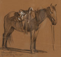 Fine Art - Work on Paper, Maynard Dixon (American, 1875-1946). Horse Study, 1905.Charcoal with white chalk on paper. 5-1/2 x 6 inches (14.0 x 15....
