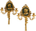 Decorative Arts, French, A Pair of Louis XVI-Style Two-Light Sconces Mounted with ClassicalPlaques. 23 h x 16 w x 4 d inches (58.4 x 40.6 x 10.2 cm)...(Total: 2 Items)