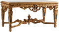 Furniture : French, A Régence-Style Carved and Partial Gilt Salon Table with Marble Top. 31 h x 63 w x 33 d inches (78.7 x 160.0 x 83.8 cm). ...