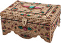 Decorative Arts, Continental:Other , A Mughal-Style Silvered Metal and Hardstone-Mounted Table Casket. 4h x 9 w x 6-1/2 d inches (10.2 x 22.9 x 16.5 cm). ...