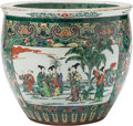 Asian:Chinese, A Large Chinese Famille Verte Porcelain Fishbowl Planter. 18 incheshigh x 21 inches diameter (45.7 x 53.3 cm). ...