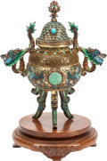 Asian:Chinese, A Chinese Turquoise and Jade-Mounted Censer on Hardwood Stand. 8 hx 6 w x 3 d inches (20.3 x 15.2 x 7.6 cm) (censer). ... (Total: 3Items)