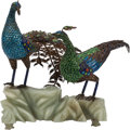 Asian:Chinese, A Chinese Jeweled and Enameled Double Peacock on Carved Jade Base.8 h x 6 w x 7 d inches (20.3 x 15.2 x 17.8 cm). ...