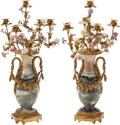 Decorative Arts, French:Lamps & Lighting, A Pair of Empire-Style Gilt Bronze, Onyx, and Porcelain Five-LightCandelabra. 29 h x 16 w x 16 d inches (73.7 x 40.6 x 40.6...(Total: 2 Items)