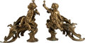 Decorative Arts, Continental:Other , A Pair of Louis XV-Style Gilt Bronze Figural Chenets. 14 h x 14 w x8 d inches (35.6 x 35.6 x 20.3 cm) (each). ... (Total: 2 Items)