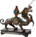 Asian:Chinese, A Chinese Jeweled and Enameled Dragon on Hardwood Stand. 8 h x 11 wx 3 d inches (20.3 x 27.9 x 7.6 cm) (dragon). ...