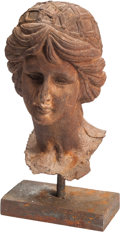 Decorative Arts, Continental:Other , A Cast Iron Bust of a Woman After the Antique. 19 h x 10 w x 10 dinches (48.3 x 25.4 x 25.4 cm). ...