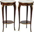 Furniture , A Pair of Louis XV-Style Mahogany and Gilt Bronze-Mounted Tables with Marble Tops. 30 h x 16 w x 16 d inches (76.2 x 40.6 x ... (Total: 2 Items)