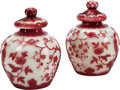 Asian:Chinese, A Pair of Red and White Peking Glass Covered Jars. 7 inches high x5 inches diameter (17.8 x 12.7 cm). ... (Total: 4 Items)