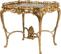 Furniture : French, A Louis XV-Style Gilt Bronze Center Table with Onyx Top. 31 h x 33 w x 27 d inches (78.7 x 83.8 x 68.6 cm). ...