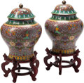 Asian:Japanese, A Pair of Chinese Cloisonné Covered Urns on Hardwood Stands. 19inches high x 14 inches diameter (48.3 x 35.6 cm) (urns). ...(Total: 6 Items)