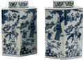 Asian:Chinese, A Pair of Chinese Hexagonal Blue and White Porcelain Tea Caddies. Marks: Kangxi mark in blue underglaze of a later period. 1... (Total: 2 Items)