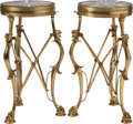 Furniture , A Pair of Régence-Style Gilt Bronze, Specimen Marble, and Micromosaic Side Tables. 27 inches high x 15 inches diameter (68.6... (Total: 2 Items)
