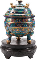 Asian:Chinese, A Large Chinese Cloisonné Covered Censer on Hardwood Stand. 33 h x25 w x 25 d inches (83.8 x 63.5 x 63.5 cm). ... (Total: 2 Items)