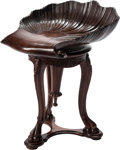 Furniture , An Venetian-Style Carved Mahogany Grotto Piano Stool. 23 h x 16 w x 18 d inches (58.4 x 40.6 x 45.7 cm). ...