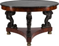 Furniture : French, A Large Empire-Style Mahogany Center Table with Marble Top. 32 inches high x 51 inches diameter (81.3 x 129.5 cm). ...