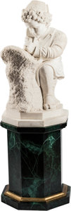 Decorative Arts, Continental:Other , An Italian Carrara Marble Figure of a Sculptor on Faux MalachiteBase. 28 h x 18 w x 14 d inches (71.1 x 45.7 x 35.6 cm) (ma...(Total: 2 Items)
