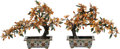 Asian:Chinese, A Pair of Chinese Hardstone Flowering Trees in Cloisonné Pots. 13 hx 17 w x 5 d inches (33.0 x 43.2 x 12.7 cm) (each). ... (Total: 2Items)