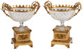 Decorative Arts, French:Other , A Pair of Louis XVI-Style Cut Crystal and Gilt Bronze-MountedCenter Bowls. 17 h x 15 w x 11 d inches (43.2 x 38.1 x 27.9 cm...(Total: 2 Items)