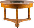 Furniture , A Biedermeier-Style Gilt Bronze-Mounted Jardinière Center Table. 29 inches high x 46 inches diameter (73.7 x 116.8 cm). ...