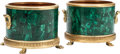 Decorative Arts, French:Other , A Pair of Louis XVI-Style Malachite and Gilt Bronze-MountedJardinières. 11 h x 13 w x 13 d inches (27.9 x 33.0 x 33.0 cm) (...(Total: 2 Items)