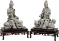Asian:Chinese, A Pair of Chinese Blanc-de-Chine Seated Guanyin Figures on HardwoodBases. 17 h x 11-1/2 w x 7 d inches (43.2 x 29.2 x 17.8 ... (Total:2 Items)