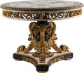 Furniture , A Louis XIV-Style Partial Gilt and Marble Inlaid Center Table. 34 inches high x 45 inches diameter (86.4 x 114.3 cm). ...