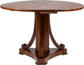 Furniture : Continental, A Biedermeier-Style Inlaid Mahogany Center Table. 30 inches high x47 inches diameter (76.2 x 119.4 cm). ...