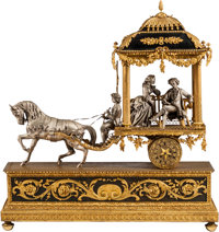 A Large Louis XVI-Style Gilt and Silvered Bronze Carriage Group Inset with Clock 36 h x 36 w x 10 d inches (91.4 x