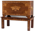 Furniture : Continental, A Dutch Marquetry, Inlaid Mahogany,and Gilt Bronze-Mounted Cassone. 27 h x 47 w x 23-1/2 d inches (68.6 x 119.4 x 59.7 cm). ... (Total: 2 Items)