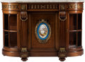 Furniture , A Louis XVI-Style Porcelain and Gilt Bronze-Mounted Buffet with Marble Top. 47 h x 66 w x 24 d inches (119.4 x 167.6 x 61.0 ...