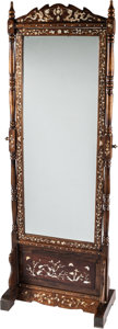 Asian:Chinese, A Chinese Mother-of-Pearl and Inlaid Hardwood Cheval Mirror. 72 h x25-1/2 w x 15 d inches (182.9 x 64.8 x 38.1 cm). ...