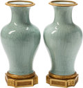 Ceramics & Porcelain, A Pair of Louis XVI-Style Celadon Porcelain and Gilt Bronze-Mounted Vases. 11 inches high (27.9 cm) (each). ... (Total: 2 Items)