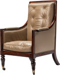 Furniture : English, A Regency-Style Mahogany Armchair with Leather Upholstery. 42 h x 25-1/2 w x 27 d inches (106.7 x 64.8 x 68.6 cm). ...