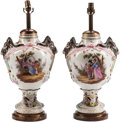Ceramics & Porcelain, Continental, A Pair of German Porcelain Urns Mounted as Lamps. 28 h x 14 w x 8 dinches (71.1 x 35.6 x 20.3 cm). ... (Total: 2 Items)