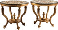 Furniture , A Pair of Venetian-Style Tables with Specimen Marble Tops. 29 inches high x 32 inches diameter (73.7 x 81.3 cm) (each). ... (Total: 2 Items)