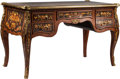 Furniture : French, A Louis XV-Style Marquetry Inlaid and Gilt Bronze-Mounted Bureau Plat. 32 h x 51 w x 28 d inches (81.3 x 129.5 x 71.1 cm). ...