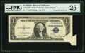 Error Notes:Attached Tabs, Butterfly Fold Error Fr. 1613W* $1 1935D Wide Silver CertificateStar. PMG Very Fine 25.. ...