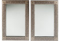 Furniture : Continental, A Pair of Moorish-Style Mother-of-Pearl and Inlaid Mirrors,probably Syria or Iran. 47 h x 31-1/2 w x 1 d inches (119.4 x 80...(Total: 2 Items)