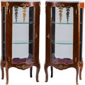 Furniture : French, A Pair of Louis XV-Style Gilt Bronze-Mounted Vitrine Cabinets with Marble Tops. 50 h x 20 w x 13 d inches (127 x 50.8 x 33.0... (Total: 2 Items)