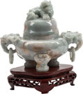 Asian:Chinese, A Chinese Carved Jade Censer with Figural Finial. 7 h x 8 w x 4 dinches (17.8 x 20.3 x 10.2 cm). ... (Total: 2 Items)