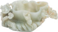 Asian:Chinese, A Chinese Carved Jade Brush Pot. 6 h x 3 w x 2 d inches (15.2 x 7.6x 5.1 cm). ...