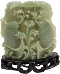 Asian:Chinese, A Chinese Carved Celadon Jade Double Fish Group on Hardwood Base. 5h x 5 w x 1 d inches (12.7 x 12.7 x 2.5 cm). ... (Total: 2 Items)