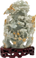 Asian:Chinese, A Chinese Carved Celadon and Brown Jade Covered Urn on HardwoodStand. 7 h x 4 w x 2 d inches (17.8 x 10.2 x 5.1 cm). ... (Total: 3Items)