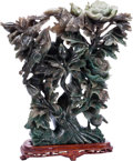 Asian:Chinese, A Chinese Carved Green Hardstone Floral Group on Hardwood Base. 11h x 10 w x 3 d inches (27.9 x 25.4 x 7.6 cm). ... (Total: 2 Items)