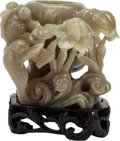 Asian:Chinese, A Chinese Carved Jadeite Brush Pot on Base. 4 h x 4 w x 4 d inches (10.2 x 10.2 x 10.2 cm). ... (Total: 2 Items)